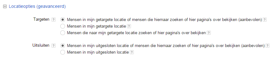 Google Shopping opzetten in Adwords 5 Locatieopties