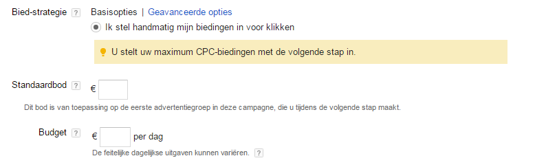 Google Shopping opzetten in Adwords 6 Biedopties