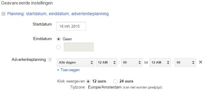Google Shopping opzetten in Adwords 8 Tijden instellen
