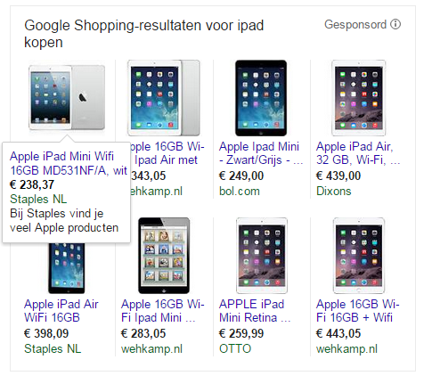 Google Shopping opzetten in Adwords 9 Google Shopping resultaten