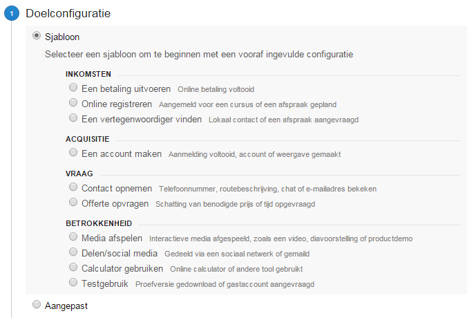 Doelconfiguratie Google Analytics