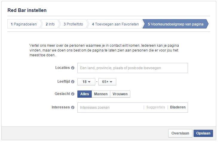 Doelgroep instellen voor Facebook-bedrijfspagina