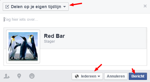 Facebook-pagina delen op Facebook