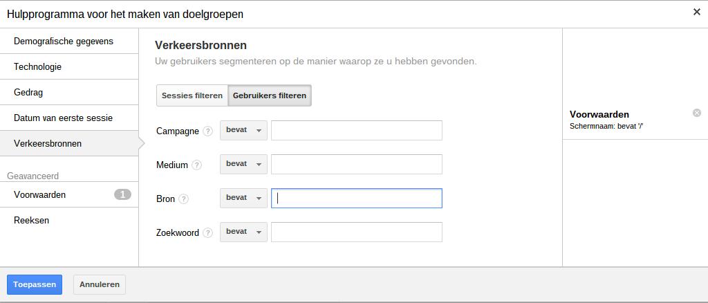 Google Retargeting Analytics Doelgroep instellen