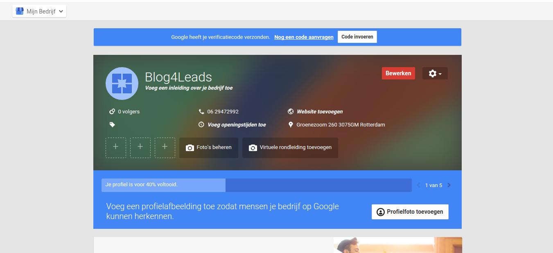 Google Mijn Bedrijf-pagina
