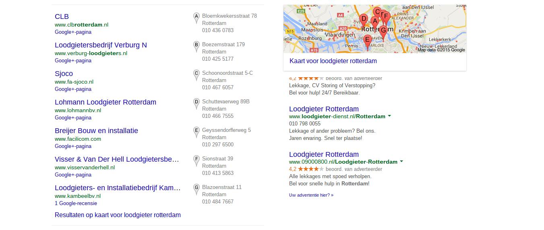 Google Places en Mijn Bedrijf-zoekresultaten