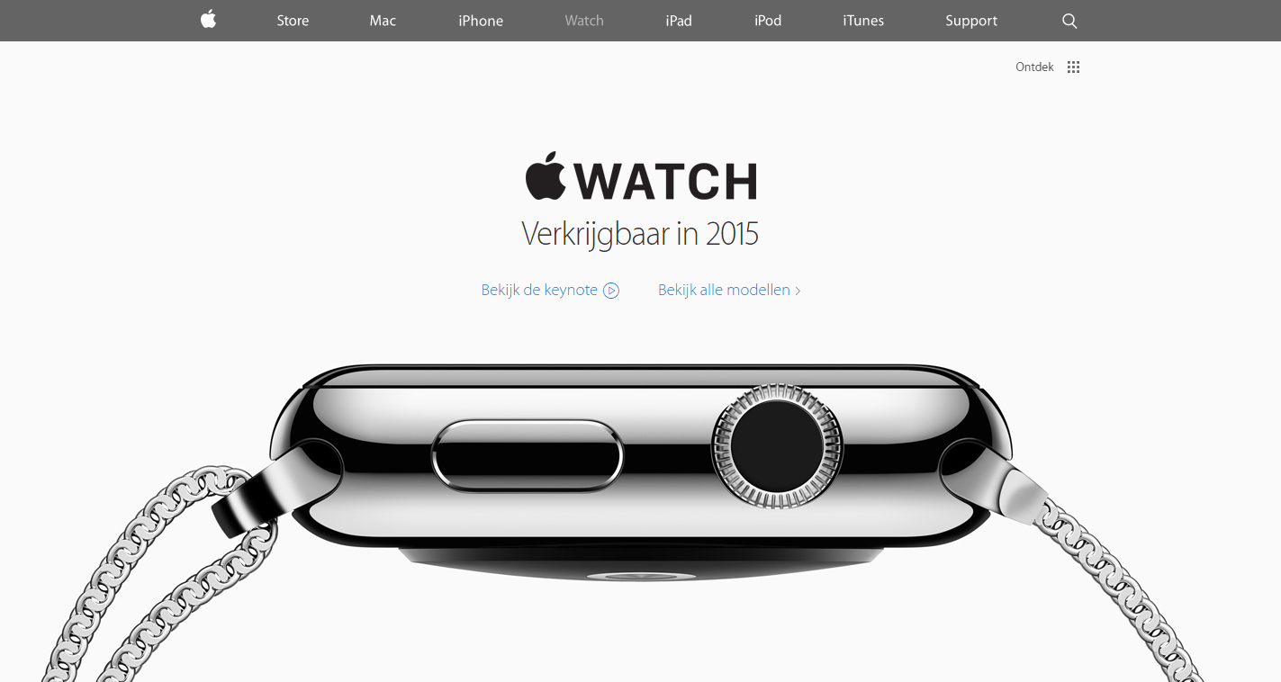 Volgorde landingspagina Apple Watch