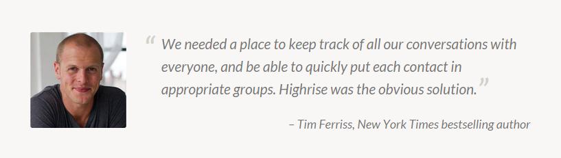 Tim Ferriss review op landingspagina Highrish