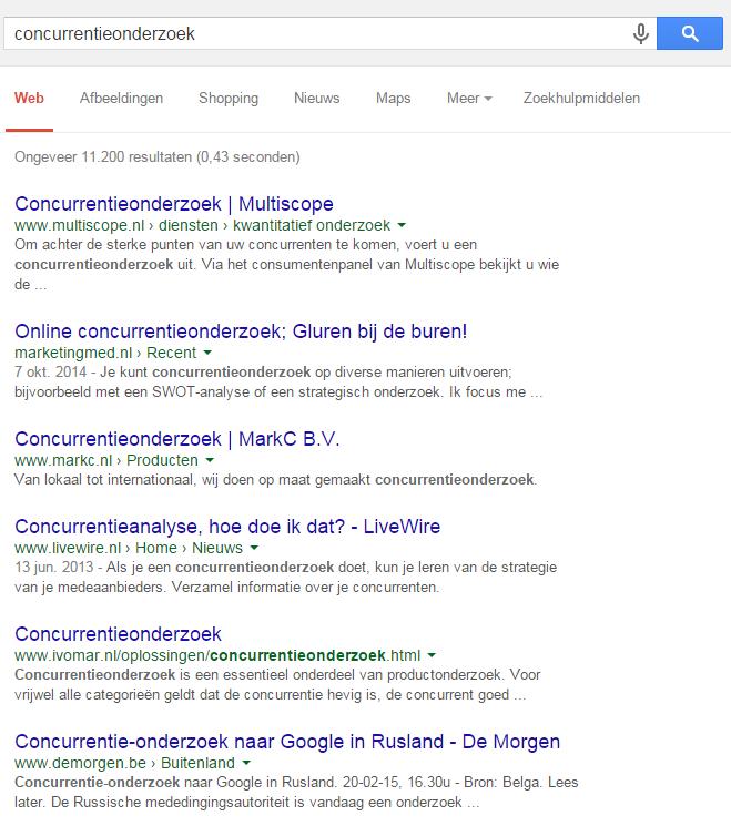 Concurrentieonderzoek uitvoeren in Google voor SEO
