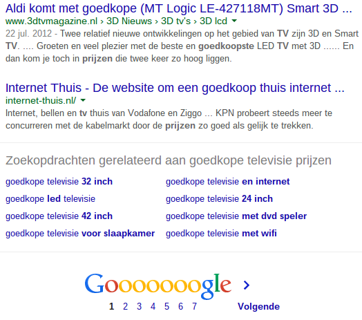 Gerelateerde zoektermen in Google voor goedkope televisie