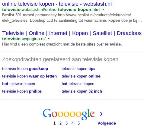 Gerelateerde zoektermen in Google voor televisie kopen