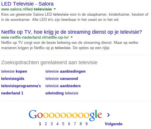 Gerelateerde zoektermen in Google voor televisie