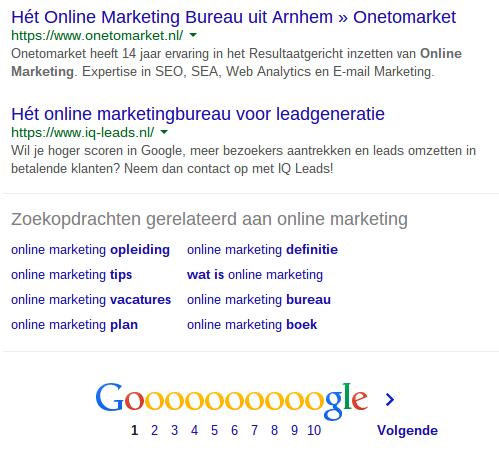 Gerelateerde zoektermen in Google voor zoekwoordonderzoek